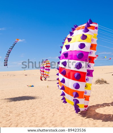 FUERTEVENTURA, SPAIN - NOVEMBER 13: Viewers watch from the ground as multicolored kites fill the sky at 24th International Kite Festival, November 13, 2011 in Dunes of Corralejo, Fuerteventura, Spain