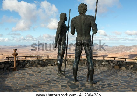 FUERTEVENTURA, SPAIN - SEPTEMBER 16, 2015: Morro Velosa Pointview -  unique views over the wonderful landscape of the north-central region of the island.  Fuerteventura , Canary Island, Spain - stock photo