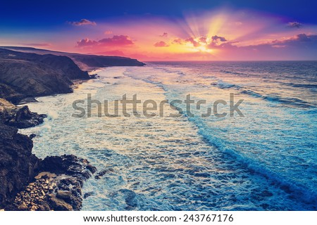 Fuerteventura sunset on the beach filtered  - stock photo