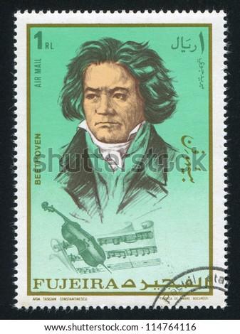 FUJEIRA - CIRCA 1972: stamp printed by Fujeira, shows Ludwig van Beethoven, circa 1972 - stock photo