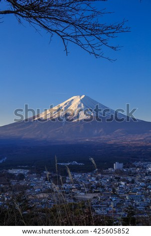 Fuji mountain and city in winter February. - stock photo