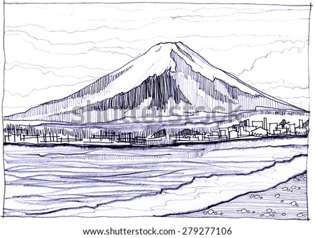 Fuji Yama snow mountain in Japan I have see more picture in Internet and get idea picture pencil sketch style  - stock photo