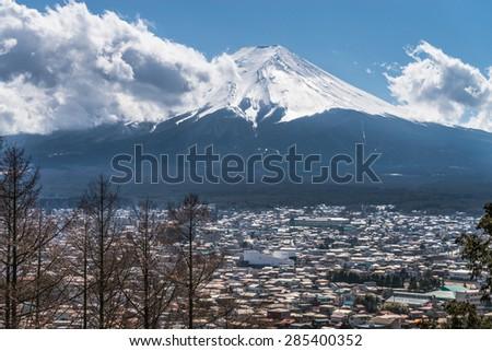 Fujikawa Town and Mountain Fuji view from Red pagoda in japan - stock photo