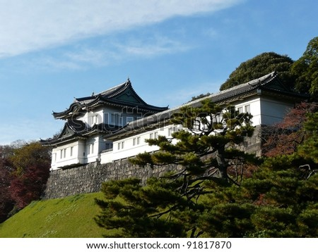 Fujimi-yagura (Mt Fuji-view Keep) at the Imperial Palace in Tokyo Japan - stock photo