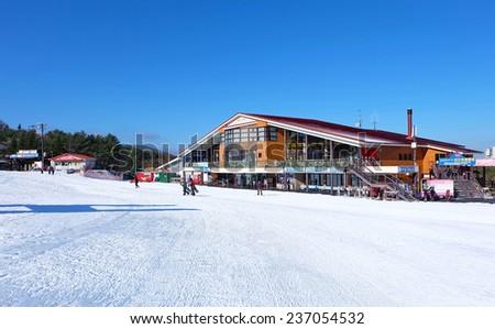 Fujiten ski resort, Fuji japan December 2014 - Mountains ski resort, nature and sport background  - stock photo