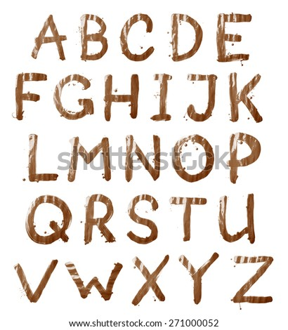 Full ABC alphabet letter set of 26 characters hand drawn with the oil paint brush strokes, isolated over the white background - stock photo