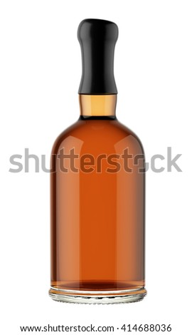 Full alcohol bottle with a wax stopper isolated on white background. Tincture, balsam, whiskey, cognac, brandy, wine. 3D Mock up for your design.
