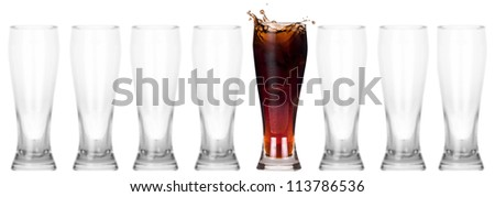 full and empty glass of fresh coke isolated on a white background.leader concept - stock photo
