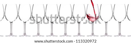 full and empty glass of red wine - stock photo