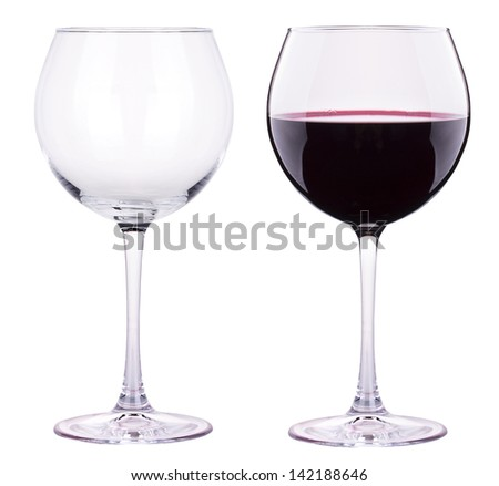 full and empty red wine glass against a white background - stock photo