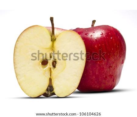 Full and Half Apple - stock photo