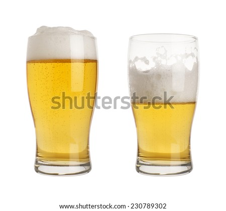 full and half empty pint of beer in glasses - stock photo