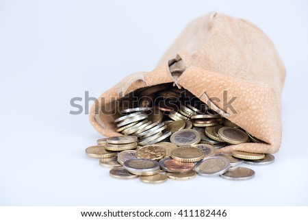 full bag of euro coins