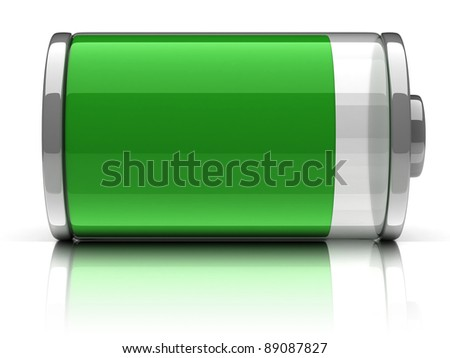 full battery 3d icon - stock photo