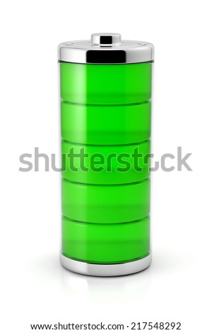 Full battery symbol with green charge level. Glossy illustration isolated icon on a white background