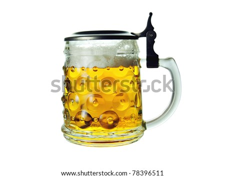 Full beer mug isolated on white background