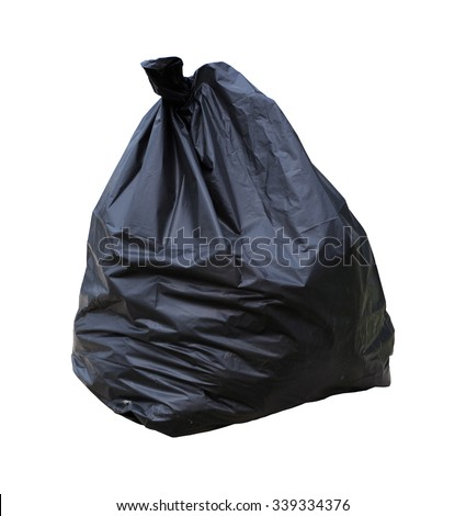 full black garbage bag isolated on white background with clipping path