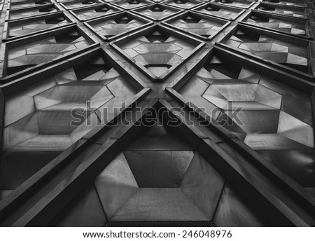 Full bleed background of a geometric architectural pattern - stock photo