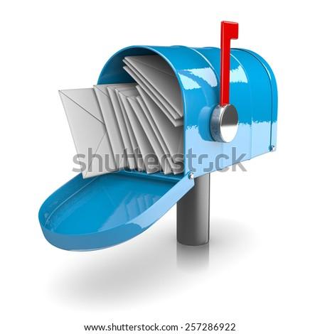 Full Blue Mailbox on White Background 3D Illustration - stock photo