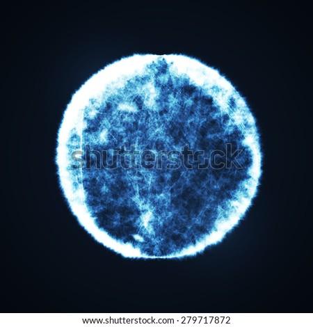Full blue moon at dark night sky background, futuristic art illustration  - stock photo