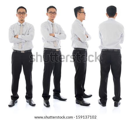 Full body arms folded Asian businessman in different angle, front, side and rear view. Standing isolated on white background. Asian male model. - stock photo