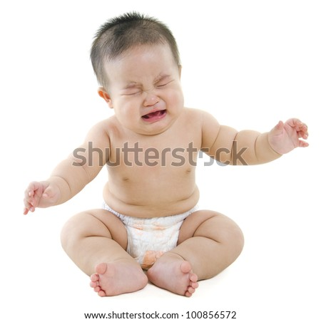Full body Asian baby boy crying on white background - stock photo
