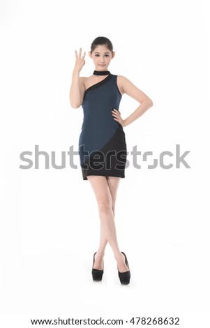 Full body beautiful woman showing three sign