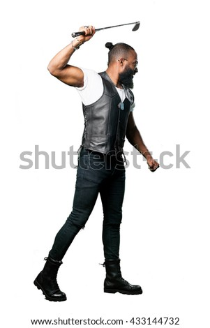 full body black man holding a golf club