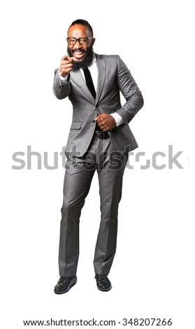 full body business black man pointing front - stock photo