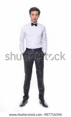 Full body Business young man of Asian, portrait isolated
