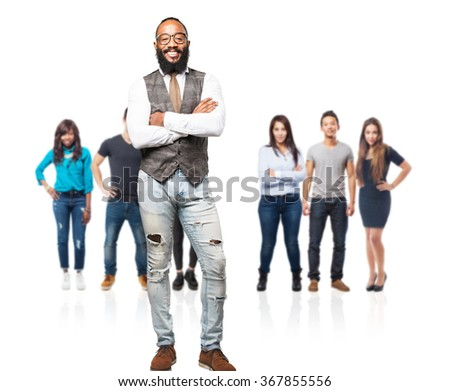 full body cool black man smiling - stock photo