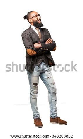 full body cool black man standing - stock photo