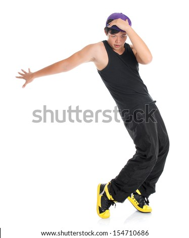Full body cool looking young Asian teenager dance hip hop isolated on white background. Asian youth culture. - stock photo