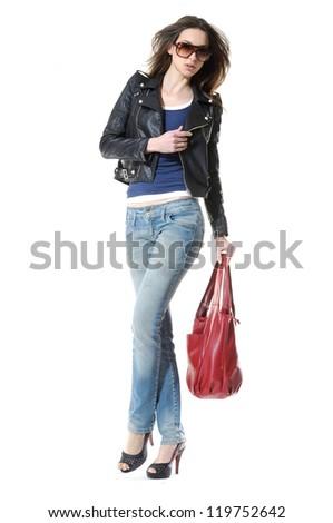 Full body fashion girl wearing sunglasses, standing posing - stock photo