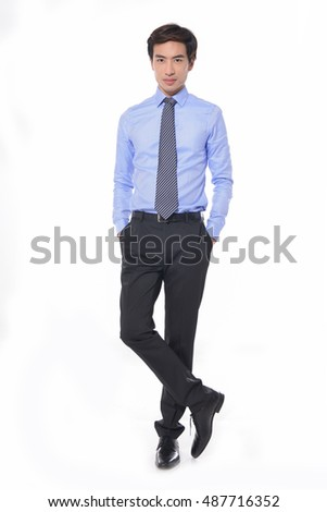 Full body Handsome young businessman portrait in studio