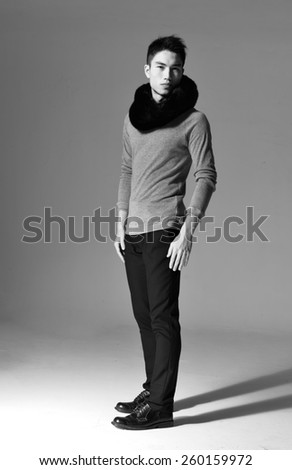 Full body handsome young man-black and white - stock photo