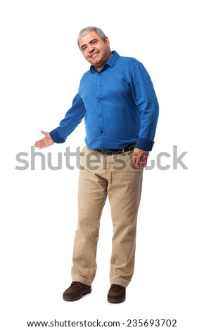 full body mature man doing a welcome gesture