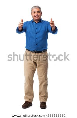 full body mature man doing an okay gesture - stock photo