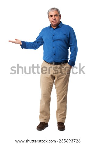 full body mature man holding gesture over white - stock photo