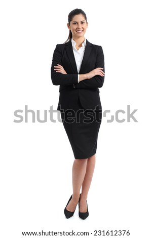 Full body of a business woman standing isolated on a white background - stock photo
