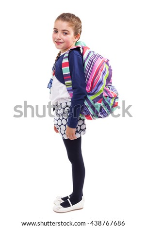 Full body of a little student girl carrying backpack on white background