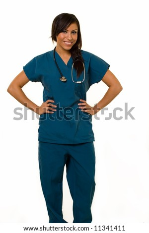 Full body of an attractive young brunette Hispanic woman health care worker standing with a smiling friendly expression on white - stock photo