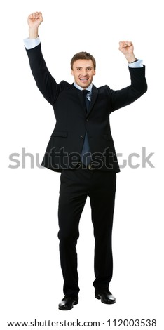 Full body of happy gesturing young smiling business man , isolated over white background