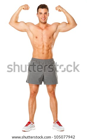Full body of muscular man flexing his biceps on white background - stock photo