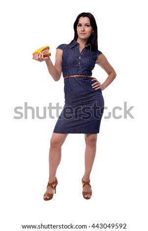 Full body of smiling business woman in dress with stapler isolated on white - stock photo