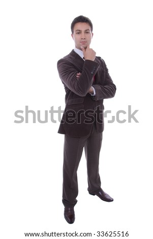 full body of young business man isolated on white background - stock photo