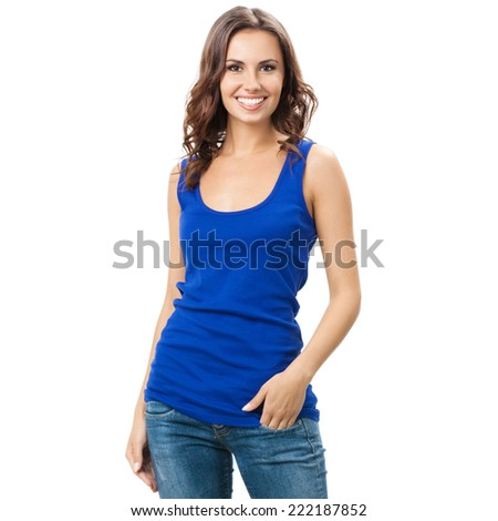 Full body of young cheerful smiling woman, isolated over white background - stock photo