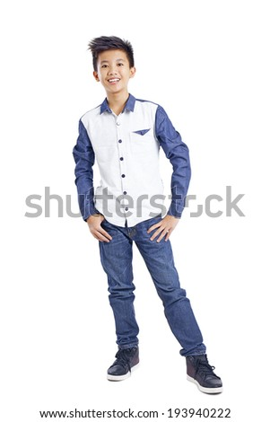 Full body picture of a young happy asian teenager isolated in white background. - stock photo