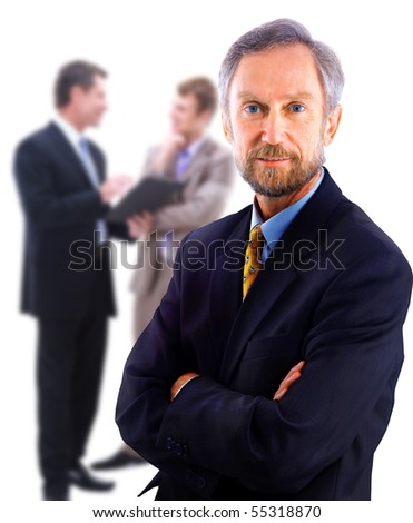 Full body portrait of a casual business man standing against white background - stock photo