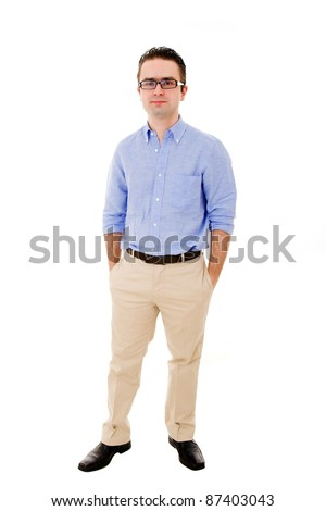 Full body portrait of a casual young man isolated on white background - stock photo